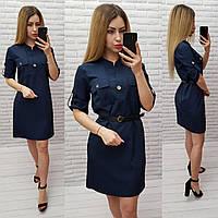 Платье с поясом арт. 198 темно синее / темно-синего цвета / темно-синий, фото 1