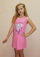 Ночная рубашка детская летняя для девочки розовая 36-42р.