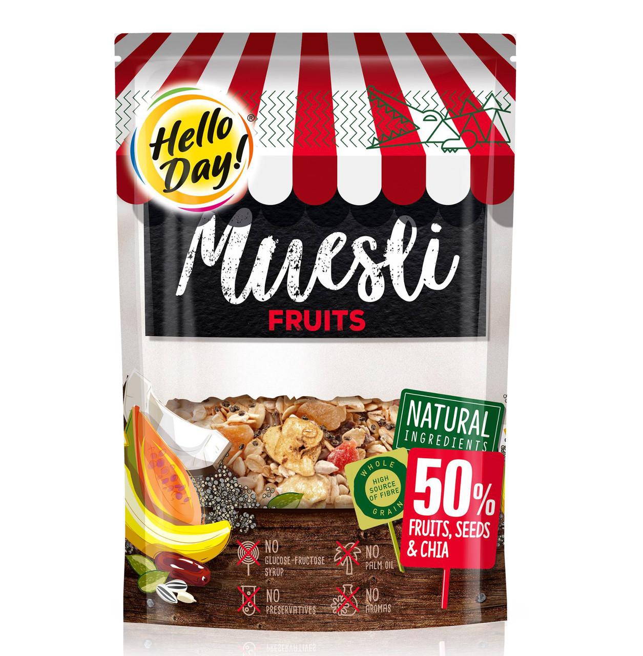 Мюслі AGUS Hello Day фрукти, горіхи та чіа 500 г 12 шт/ящ