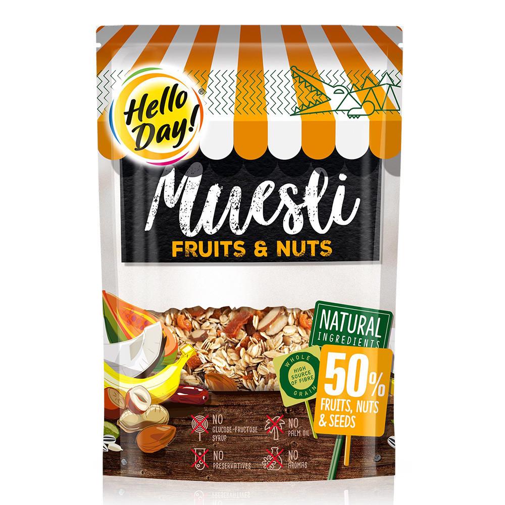 Мюслі AGUS Hello Day фрукти, насіння та горіхи-500 г, 12 шт/ящ