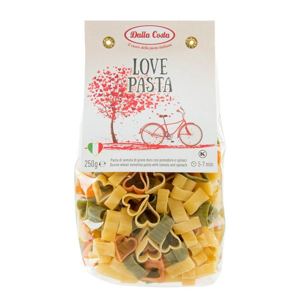 Макарони DALLA COSTA Love pasta tricolor з томатом і шпинатом 250 г 24 шт/ящ 2319
