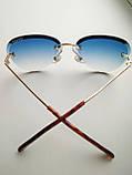 Солнцезащитные очки авиаторы женские капля синие с градиентом , Kaizi 605, фото 5
