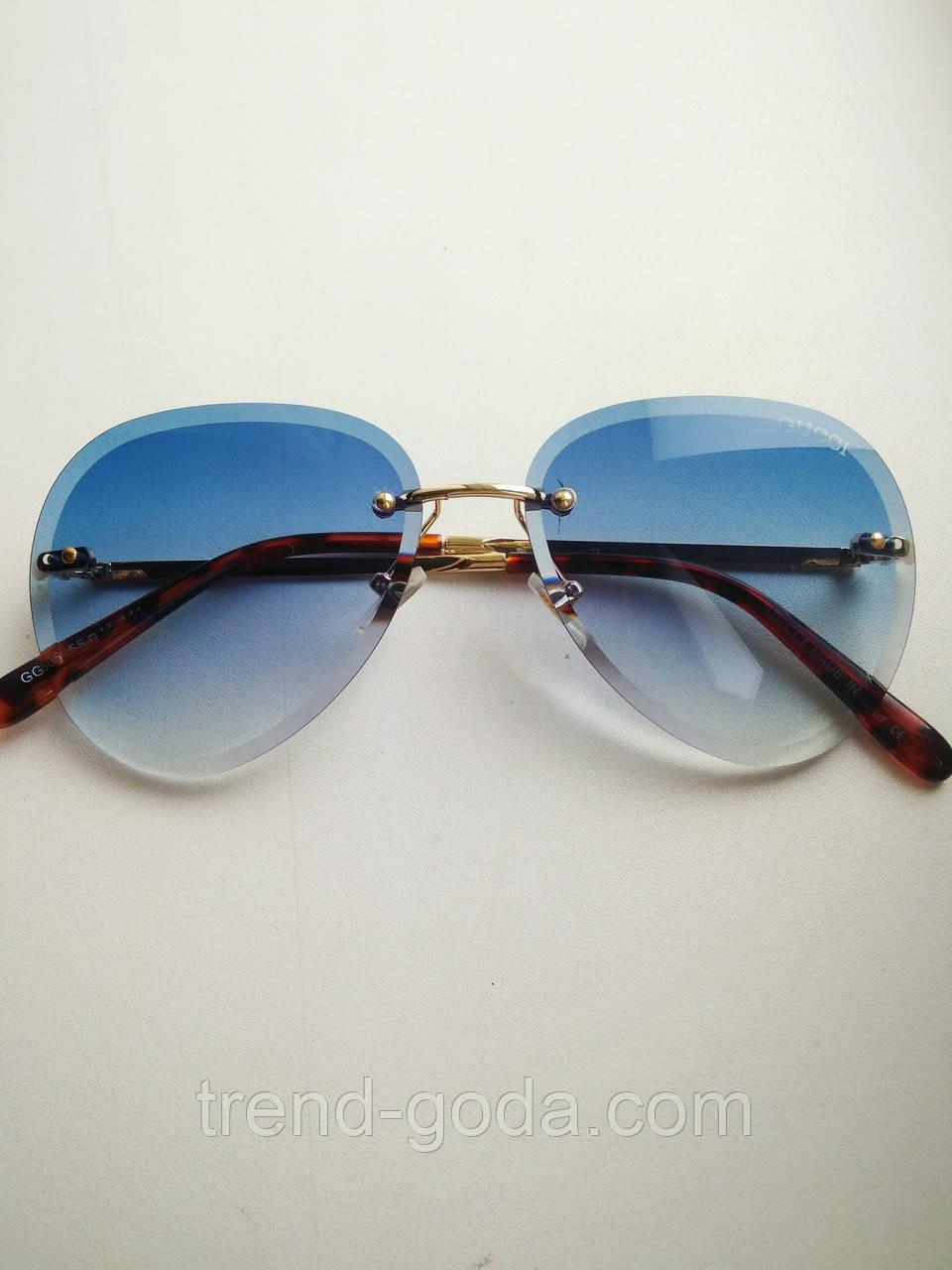 Солнцезащитные очки авиаторы женские капля синие с градиентом , Kaizi 605