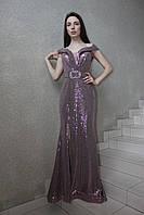 """Вечернее длинное нарядное платье """"рыбка-декольте"""", серебристое, с открытыми плечами, на свадьбу, на выпускной"""