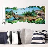 Декоративная  наклейка динозавры 3D  (90х50см)