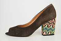 Туфли на цветном каблуке Aspena 1928 Коричневые замша