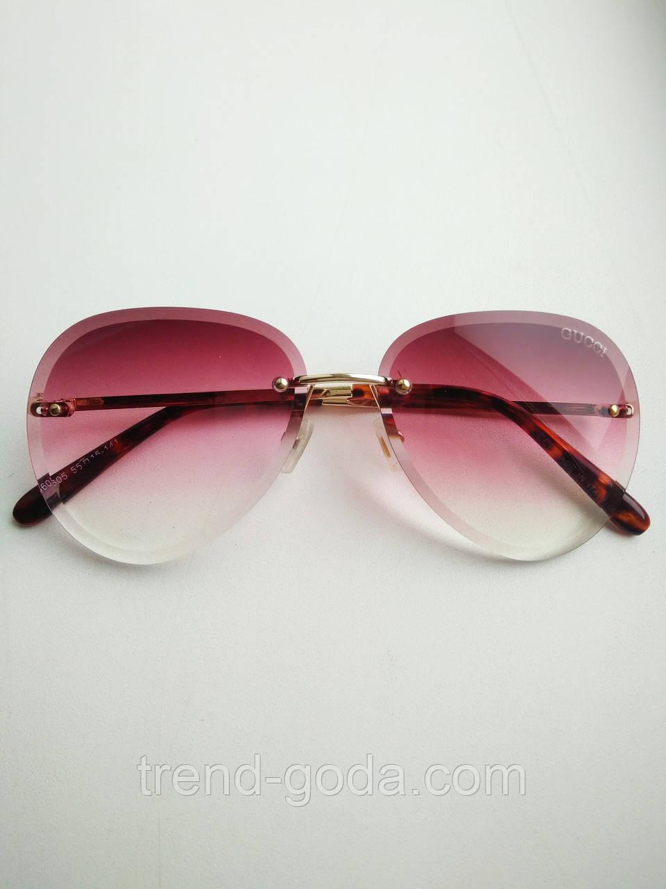 Солнцезащитные очки авиаторы женские капля розовые с градиентом , Kaizi 605