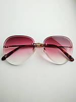 Солнцезащитные очки авиаторы женские капля розовые с градиентом , Kaizi 605, фото 1