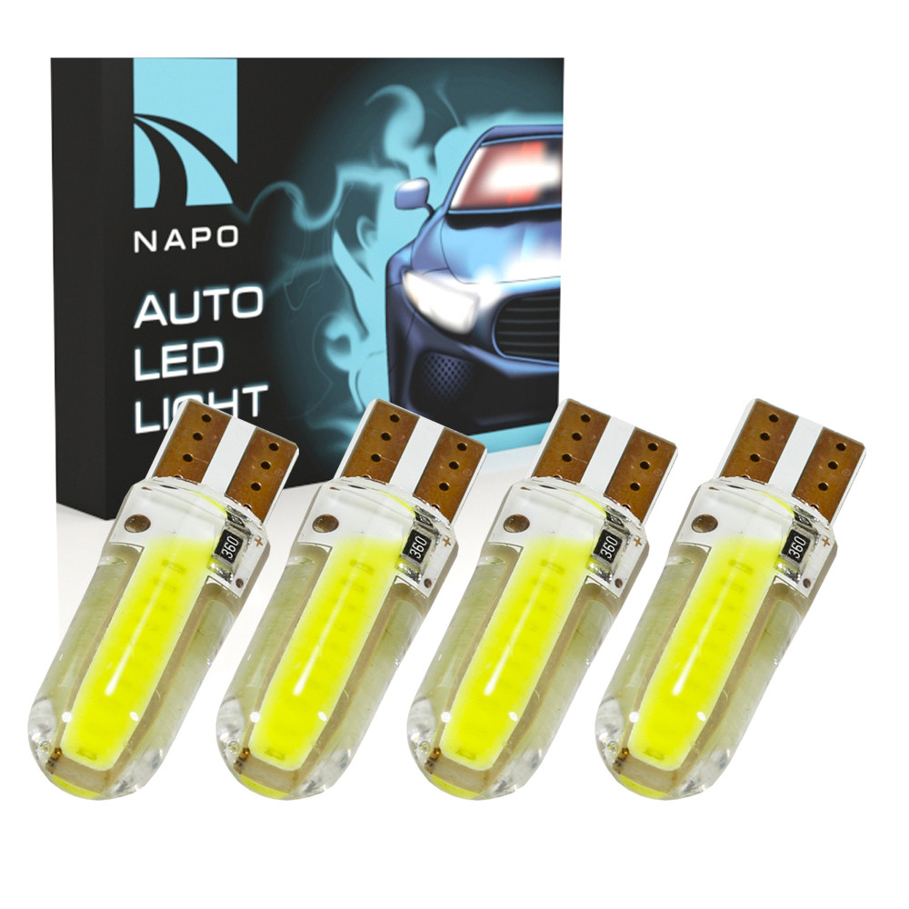 Лампа автомобильная LED T10-COB-Big-silic.10731 W5W T10 комплект 4 шт цвет свечения белый
