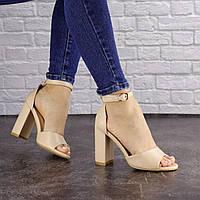 Женские босоножки на каблуке Fashion Cliff 1557 40 размер 25,5 см Бежевый