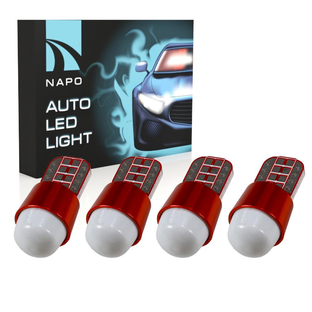 Лампа автомобильная LED T10-2835-3smd-lens W5W T10 комплект 4 шт цвет свечения белый