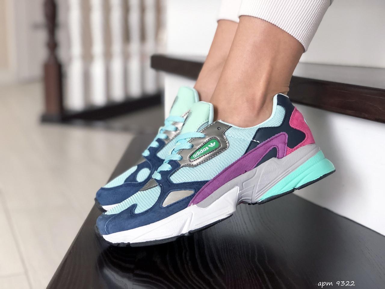 Модные весенние кроссовки Adidas Falcon,мятные с фиолетовым