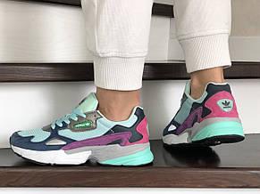 Модные весенние кроссовки Adidas Falcon,мятные с фиолетовым, фото 3