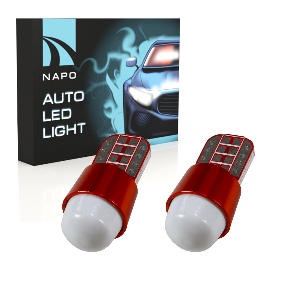 Лампа автомобильная LED T10-2835-3smd-lens W5W T10 комплект 2 шт цвет свечения белый
