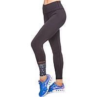 Лосины для фитнеса и йоги с принтом Domino YH37 размер S-L рост 150-180, вес 40-60кг черный-серый