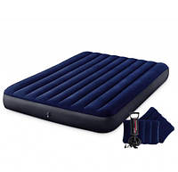 Надувной матрас Intex 64765 (152 х 203 х 25 см) с двумя подушками ручным насосом  KK