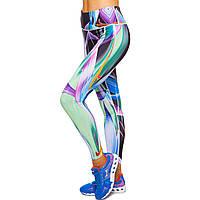 Лосины для фитнеса и йоги с принтом Domino YH73 размер S-L рост 150-180, вес 40-60кг мультиколор