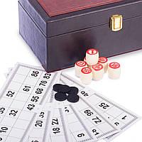 Лото настольная игра в кожзам коробке W9070 (90 дер.боч.,48 карт,40 фиш,р-р 25,5x14x10,5см), фото 1