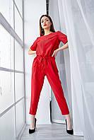 Яркий летний брючный женский комбинезон красного цвета