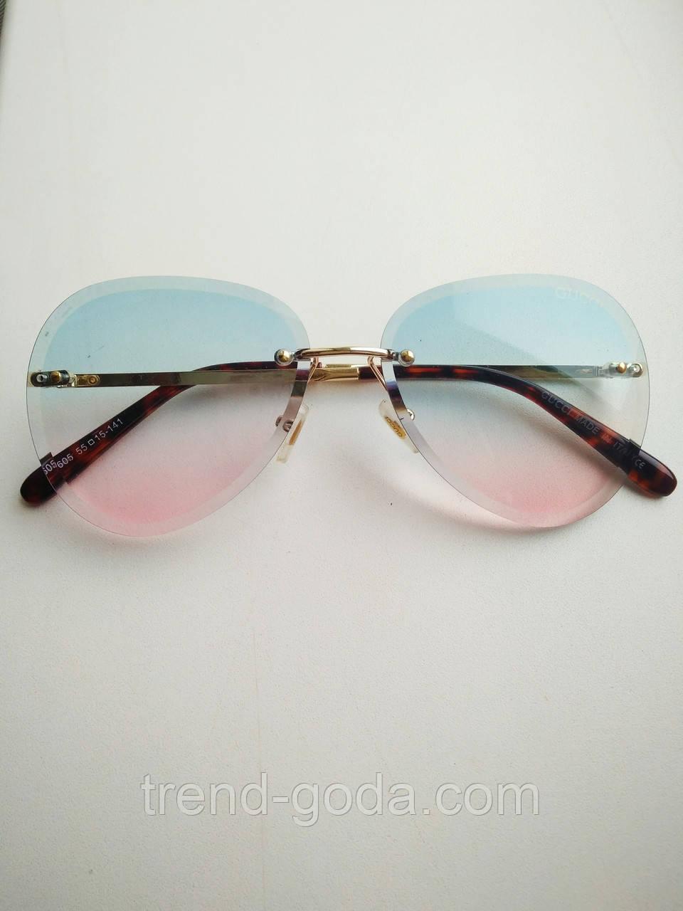 Солнцезащитные очки авиаторы женские капля голубо-розовые с градиентом, Kaizi 605