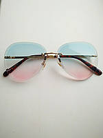 Солнцезащитные очки авиаторы женские капля голубо-розовые с градиентом, Kaizi 605, фото 1