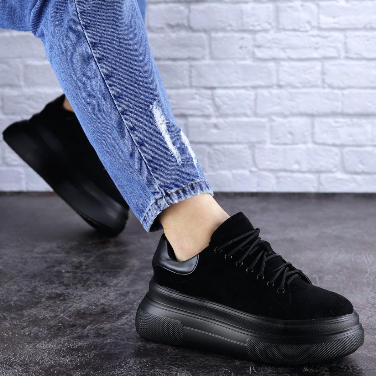 Женские черные кроссовки на платформе Jeffy 1714 (36 размер)