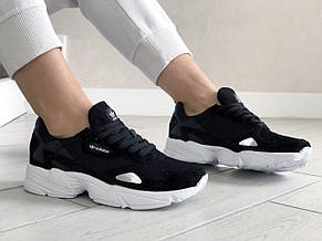Модные весенние кроссовки Adidas Falcon,черно белые, фото 3