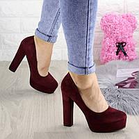 Туфли женские на каблуке бордовые Liam 1304