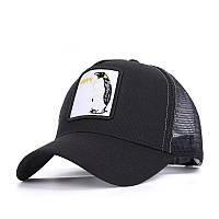 Бейсболка с вышивкой Пингвин Happy черная