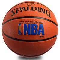 Мяч баскетбольный резиновый №7 SPALDING 83192Z LOGOMAN SOFT GRIP OUTDOOR (резина, бутил, оранжевый), фото 1