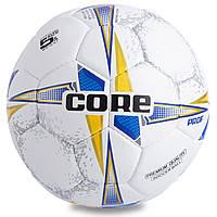Мяч футбольный №5 COMPOSITE LEATHER CORE PROF CR-001 (№5, 4 сл., сшит вручную, белый-синий-желтый), фото 1