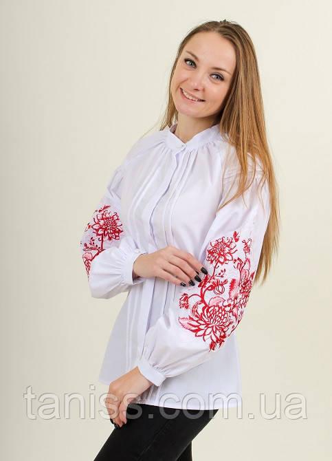 """Женская, нарядная блузка - вышиванка """"Розовая симфония"""", р. 42,44,46,48,50,52 белая с красн выш"""