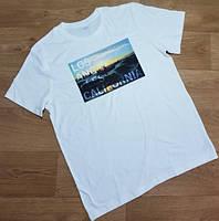 Белая хлопковая мужская футболка с принтом OLD NAVY (США) (Размер L)