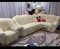 Угловой натяжной чехол на диван + 1 кресло Накидка