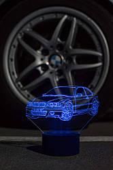 3d-світильник БМВ, BMW, 3д-нічник, кілька підсвічувань (батарейка+220В)