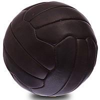 Мяч футбольный №5 Кожа VINTAGE F-0254 (№5, 5сл., 18 панелей, сшит вручную, темно-коричневый), фото 1