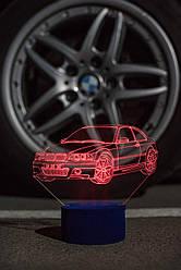 3d-світильник БМВ, BMW, 3д-нічник, кілька підсвічувань (на пульті)