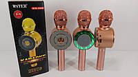 Блютус караоке Микрофон-колонка с подсветкой bluetooth Wster WS-668 Розовое золото