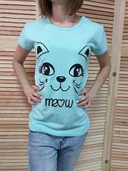 Футболка женская с мордочкой кошки оптом s,m,l котон