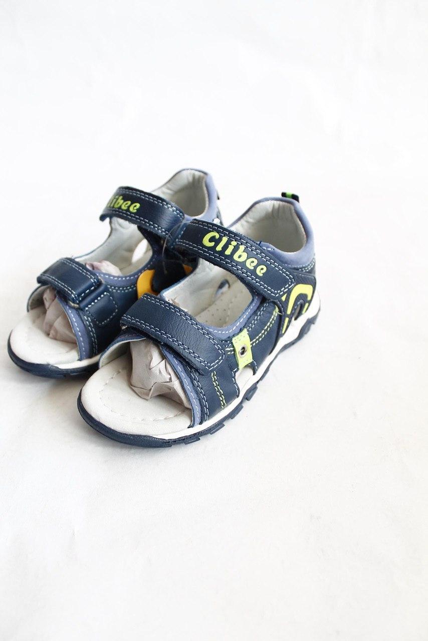 Дитячі шкіряні босоніжки для хлопчика Clibee Польща розміри 25-30