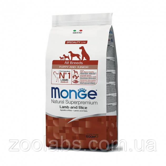 Корм Monge для щенков | Monge Dog All Breeds Puppy & Junior Lamb & Rice 2,5 кг