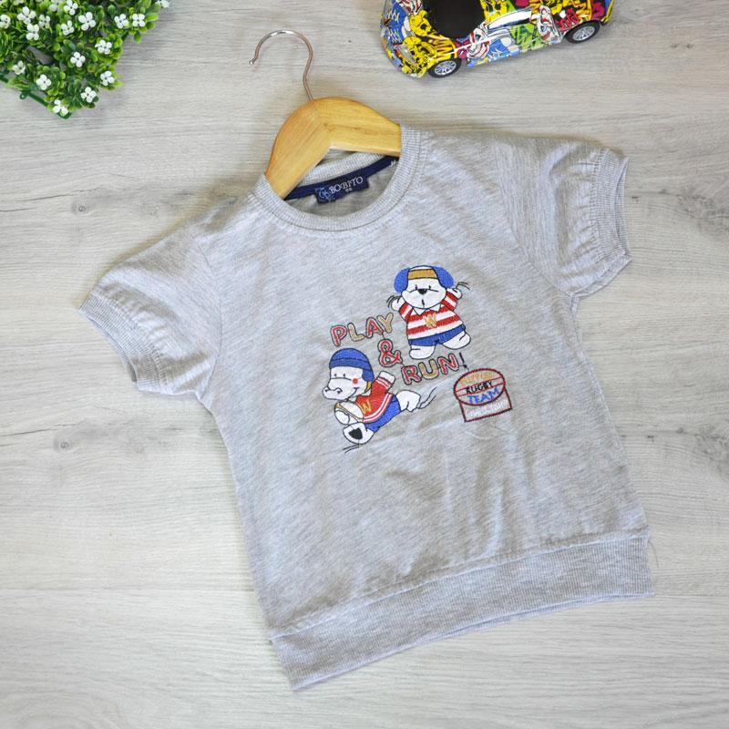 """Летняя детская футболка """"Play & Run"""" , трикотаж , для мальчиков (рост 86-92-98-104 см)"""