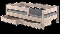 Кровать детская с бортиком классическая LukDom Mix Беленый дуб 160х80