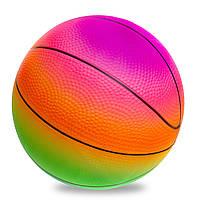 Мяч резиновый Баскетбольный LEGEND BA-1900 (резина, вес-200г, d-22см, радужный), фото 1