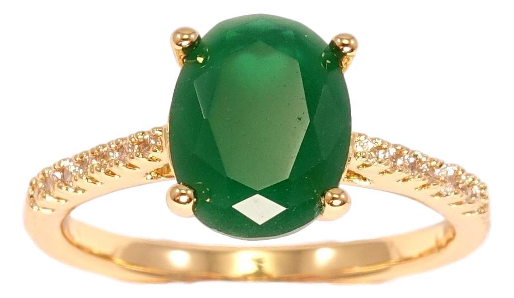 """Кольцо ХР Позолота 18K """"Вставка крупный зеленый кристалл скосы шинки с инкрустацией""""р. 16,17,17.5"""