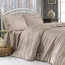 Комплект постельного белья сатин c вышивкой ТМ Royal Nazik Melisa bej