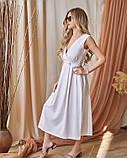 Белое льняное платье с декольте на запах, фото 2