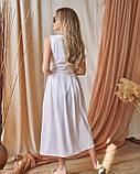 Белое льняное платье с декольте на запах, фото 3