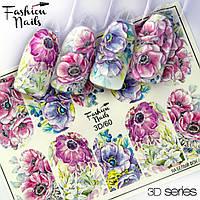 Декор для ногтей  Fashion Nails водные наклейки 3D слайдер-дизайн цветы (3D/60)