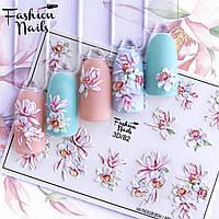 Декор для ногтей  Fashion Nails водные наклейки 3D слайдер-дизайн цветы (3D/82)